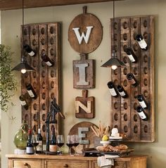 Wine Bottle Display - Pottery Barn Catalog 2013 ok they don't sell this I guess I have to make it