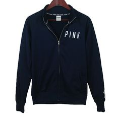 VICTORIA'S SECRET - PINK - MLB Yankees Zip Up Hardly worn, great condition! MLB New York Yankees, navy blue, collared, warm & soft inside fabric. ❌TRADES❌ PINK Victoria's Secret Tops