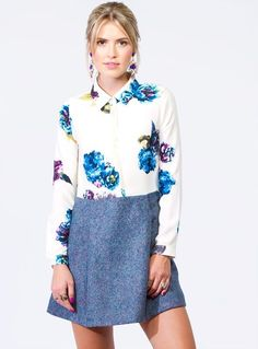 This dress comes in a quality fabric and features amethyst floral prints at the bodice with French button placket and a contrasting wool skirt with pockets at s Skirts With Pockets, Wool Skirts, Bodice, Amethyst, Floral Prints, Boutique, Blouse, Clothing, Fabric