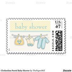 Clothesline Pastel Baby Shower Postage Stamp