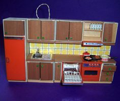 VINTAGE 1970's LUNDBY DOLLS HOUSE COMPLETE LIGHT UP ORANGE TILE KITCHEN SUITE | eBay