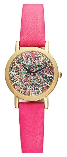 kate spade new york pink glitter watch