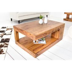 Salontafel Giant L 90x60cm Massief Sheesham Hout - 37438