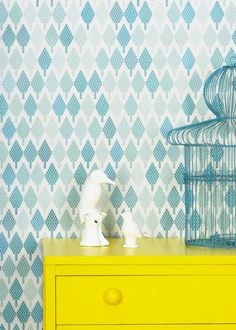Tiny Tree Turquoise - Wallpaper by Maria Bergstrom