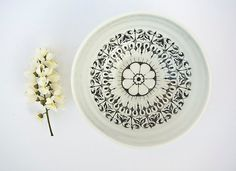 Decorative Bowl with Lacy Decal - Modern Porcelain Bowl