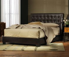 """Newhouse Bed in classic Vintage Brown leather. A fresh design with a classic feel.  The crisply detailed headboard is upholstered in extra thick, pebble grained """"tumbled"""" leather.  Hand-tufted buttons and welts accentuate the classic proportions. The layered inner upholstery make it very comfortable and durable.  #CharlesPRogers  #beds #leather"""