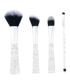 Look at this #zulilyfind! Four-Piece Silver Cosmetic Brush Set by Danielle Creations #zulilyfinds