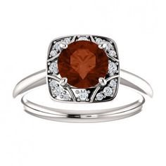 14kt White Gold 6.5mm Round Center Stone Garnet And Round Diamonds Engagement Ring.... #gold #diamond #bridal #engagement #wedding #ring #fashion #jewelry #jewelryring #diamondring #engagementring #fashionring #lovely #Richmondgoldanddiamonds