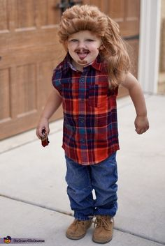 We decided to make our 2 year old son Elliot into Joe Dirt this year. It is an easy and inexpensive costume that can be done in an hour. To create this costume we purchased a princess wig, flannel button down, and face paint. Photo 4 of Baby Halloween Costumes For Boys, Halloween Costume Contest, Baby Costumes, Costume Ideas, Joe Dirt Costume, White Trash Costume, Costume Works, 2 Year Olds, The Joe