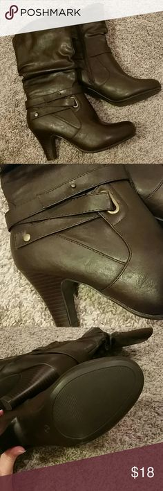 """Rebel Mid Calf Boots Rebel brand heeled boots Slouch style, up to the mid-calf in height. Women's size 8 Heel height: 3.25"""" Brand new without original box. Clean, smoke free home. Rebel Shoes Heeled Boots"""