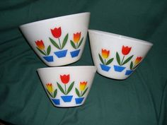 Tuplip Bowls!  Mother had a set now several of us girls have them. Love them. . . it reminds me of my childhood!