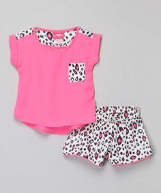 Look at this #zulilyfind! Girls Luv Pink Hot Pink Top & Leopard Shorts - Girls by Girls Luv Pink #zulilyfinds