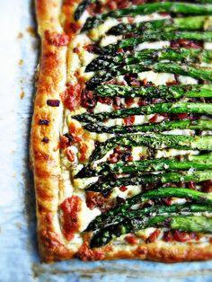 Roasted Asparagus, Bacon, & Asiago Cheese Tart