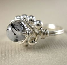 Wire Wrapped Ring Sterling Silver and Black by holmescraft on Etsy, $25.00