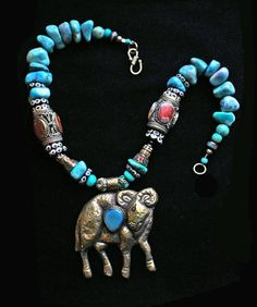 Set of 2 Royal Kraft Antique Bone Beaded Metal Pendant and Elephant Carved Necklaces