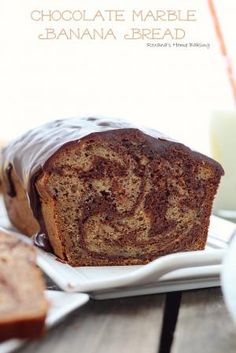 Chocolate Marble Banana Bread  Rich semi-sweet chocolate swirled into a moist and delicious banana bread with a to...
