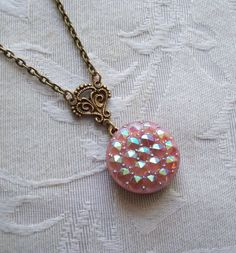 Le Chic Pink Vintage Glass Button Necklace by TimelessTrinkets, $18.00