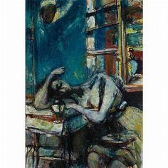Sigmund Menkes  (Polish, 1896-1986).  Sleeping Woman,  Oil on canvas,  30 1/8 x 21 inches (76.5 x 53.4 cm)