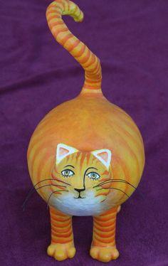 """Orange Cat"" - Paper Mache by Andre Senasac"