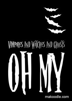 Halloween Printable - Vampires and Witches and Ghosts OH MY- DIY