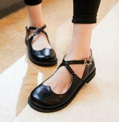 Nuevo estilo Vintage punta redonda Mary Jane zapatos planos para mujer de tacón bajo dulce zapatos lindos de la muñeca Lolita zapatos del barco mocasines tamaño grande 43