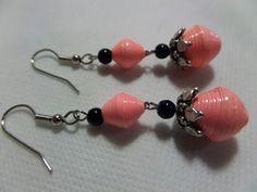 Pink paper bead earrings