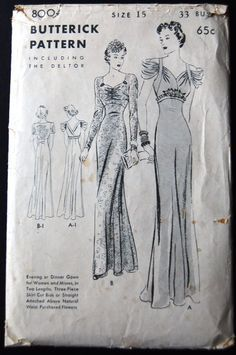 Vintage Original Butterick Evening Dress Pattern No. Vintage Pattern Design, Vintage Dress Patterns, Barbie Patterns, Clothing Patterns, Vintage Dresses, Vintage Outfits, Vintage Fashion, 1930s Fashion, Paper Patterns