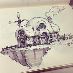 Derek Laufman: Something from the sketchbook. Prismacolor warm greys and a gel pen for inks. Colerase indigo blue #sketchbook