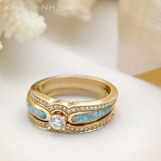 "Opal and diamond engagement ring with two diamond bands. ""Sunlit Sea"""