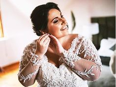 Beaded lace dress in empire style with long sleeves. Couture Wedding Gowns, Designer Wedding Gowns, Wedding Dresses, Empire Style, Beaded Lace, Wedding Designs, Lace Dress, Wedding Day, Bridal