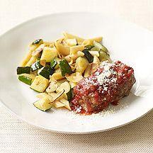 Mini Italian Meatloaves with Penne and Sautéed Zucchini