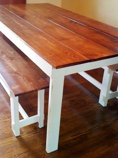 How to build a bench for the farmhouse table. I like the idea of a stained top with paint on the rest