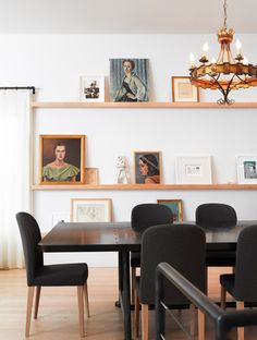 picture ledges. Great in the dining area, and so easy to switch things out an around!
