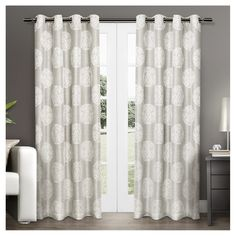 "Set of 2 Akola Curtain Panel Dove Gray (54""x108"") - Exclusive Home"