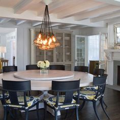 East Hampton Beach House With Round Dining Table And Lazy Susan
