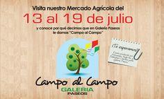 MERCADO AGRICOLA Separa la fecha y ven a disfrutar de dulces típicos, café, queso frito, viandas, pastelillo y mucho más de lo que te ofrece el campo. Más detalles en www.galeriapaseos.com