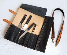 Cuchillo cocinero roll funda de cuchillo de cuero por erikasleather