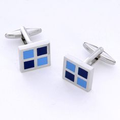 WeddingDepot.com ~ Blue Square Cufflinks with Personalized Box ~ These cufflinks make perfect groomsmen gifts and add a little pizzazz to any wedding attire.