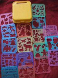 Tupperware stencil set and case. OMG, the HOURS I spent with these! I never knew they were Tupperware! 90s Childhood, My Childhood Memories, Sweet Memories, Stencils, Stencil Art, 90s Toys, Vintage Tupperware, I Remember When, Good Ole