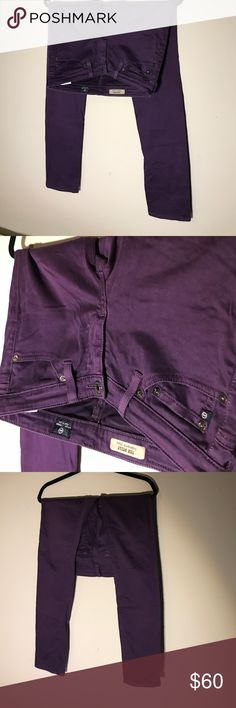 "Adriano Goldschmied AG Jeans The Stilt Cigarette Super soft size 24R Excellent condition The Stilt Cigarette Jean in a deep purple from Adriano Goldschmied!   The Stilt jean offers a cigarette leg that is fitted throughout for a sleek and figure flattering look. Its deep blue wash is accented with fading and whiskering details for worn in style.  Fit & Size  Fits true to size. Cigarette leg.  Front Rise: 7.5"" Knee Opening: 13.5"" Bottom Opening: 11.5"" Inseam: 30"" ♥️made in USA♥️ Ag Adriano…"