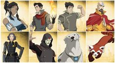 "Korra; brothers Mako (the older brother, ""a firebender with a serious side"") and Bolin (an earthbender who ""always has a smile on his face and a lady on his arm""); Tenzin, son of Aang and Katara; Chief Lin Beifong, daughter of Toph; Amon, leader of the anti-bending revolution; Naga is the first polar bear-dog to be tamed in the Southern Water Tribe; and Pabu the fire ferret is ""Bolin's partner in crime while playing practical jokes on Mako""."