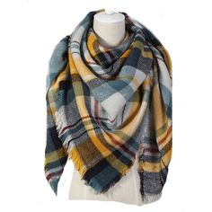 JOVANAS (TM) Women's Fashion Winter Warm Knitted Large Triangle-sided... ($12) ❤ liked on Polyvore featuring accessories, scarves, plaid wraps shawls, tartan wrap shawl, tartan scarves, tartan plaid shawl and tartan plaid scarves