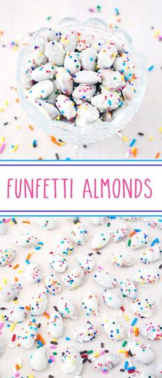 Funfetti Almonds - delish natural whole almonds bathed in rich creamy melted white chocolate and showered in colorful nonpareils; a delightfully colorful and joyfully sprinkled dessert snack. #nonpareils #nonpareilsprinkles #sprinkles #whitechocolate #funfettialmonds #funfetti #almonds #confetti #sprinklesarethebest #dessertsnack #funfettidesserts #confettidesserts via @SarahsBakeStudio Nut Recipes, Best Dessert Recipes, Candy Recipes, Easy Desserts, Sweet Recipes, Baking Recipes, Delicious Desserts, Snack Recipes, Snacks