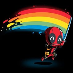 Regenbogen Katana T-Shirt Marvel - Deadpool / X-Men TeeTurtle - marvel avengers Deadpool X Spiderman, Deadpool Tattoo, Deadpool Love, Marvel Avengers, Marvel Comics, Deadpool Kawaii, Dead Deadpool, Deadpool T Shirt, Deadpool Funny