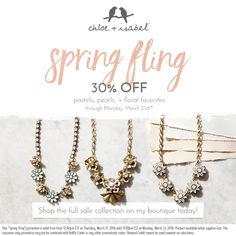Spring Fling Sale is on now!!! Click thru to shop over 50 beauteous pieces at 30% off! #TheJewelsLoveYou