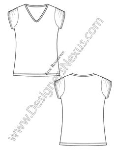 V11 Free Vector T-Shirt Template Illustrator Fashion Technical Drawing - free download of this Adobe Illustrator fashion flat sketch template + More fashion technical drawing templates at www.designersnexus.com! #flatsketches #t-shirt #fashiondesign #fashiontemplates #vector #fashionsketch