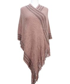 This Pink Diamond Fringe-Hem Poncho by Tickled Pink is perfect! #zulilyfinds