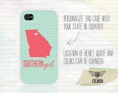 Unique iPhone Case - Coral and Mint Chevron Southern Girl iPhone 4 Case, iPhone 4s Case, Cases for iPhone 4, iPhone Cover (0285)
