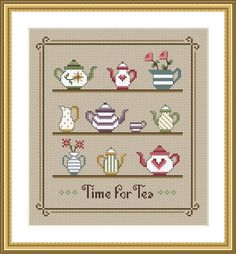 Time For Tea Cross Stitch Sampler PDF Chart by littledovesamplers, £5.00