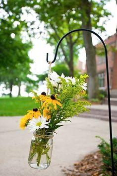 shepherd's hooks for weddings | Shepherds hooks and mason jars with wildflowers ... | Dream Wedding